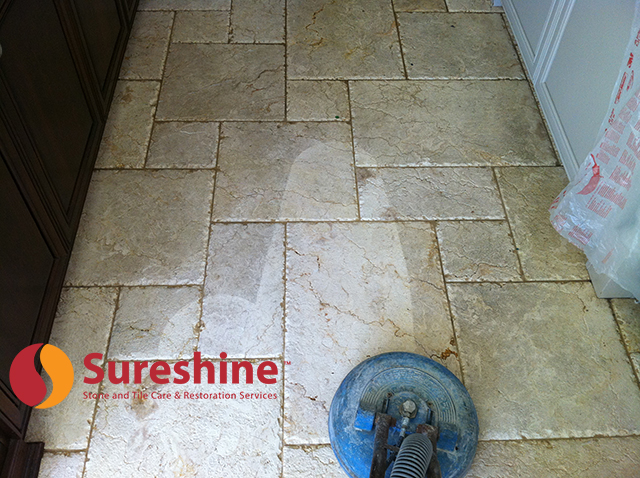 Deep cleaning of distressed travertine floor