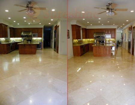 Refinished travertine floor