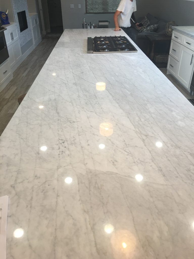 Polished marble counters